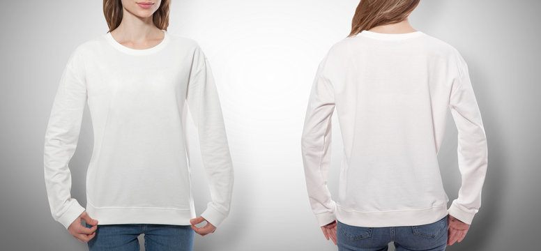 young woman in white sweatshirt, white hoodies front and rear. grey background