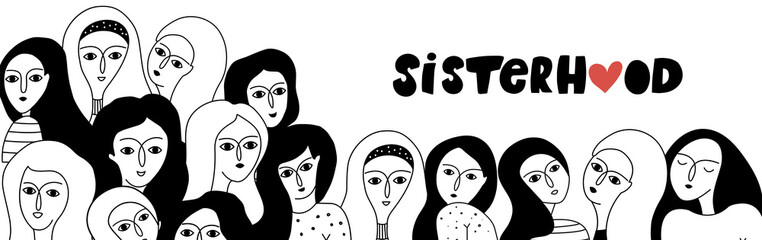 Black and white illustration with women faces.