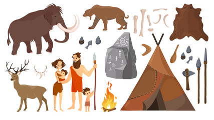 Vector illustration of stone age people with elements for life, hunting tools. Primitive Neanderthal people family - man, woman and kids, mammoth and deer, tiger in flat cartoon style isolated on