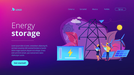 Battery energy storage from renewable solar and wind power station. Energy storage, energy collection methods, electrical power grid concept. Website vibrant violet landing web page template.