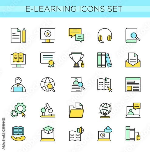 Vector illustrtion set of E-learning icons, online education