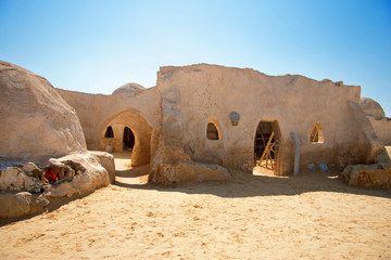 Decorations of movie Star Wars Episode First in Sahara desert, Tunisia