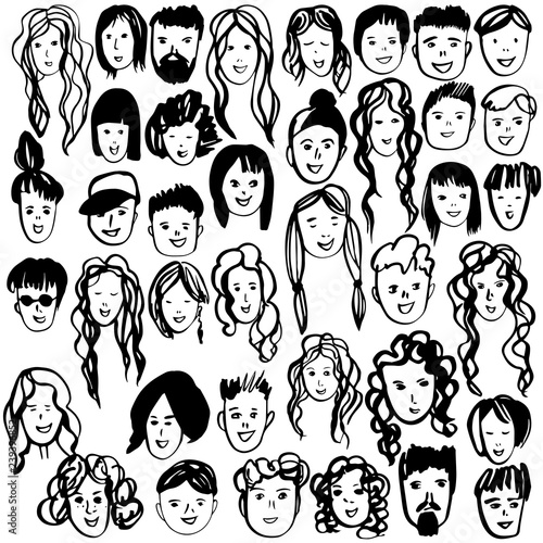 Hand Drawn People S Faces Vector Sketch Illustration