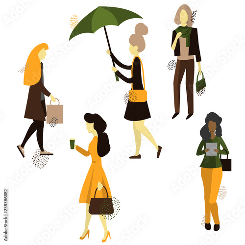 0c28174eb Girls. Women go to work, shopping.Vector illustration