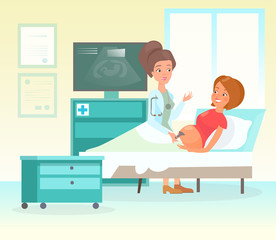 Vector illustration of ultrasound pregnancy screening concept. Lovely female doctor scanning happy and smiley mother with belly, embryo baby diagnostic in cartoon flat style.