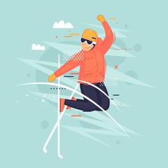 Freestyle, skiing, winter. Flat vector illustration in cartoon style.