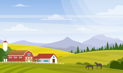 Vector illustration of rural landscape. Beautiful countryside with farm and horses on fields, house and mountains for web design development, natural background in cartoon flat style.