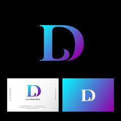 Fototapeta L and D letters. L, D monogram consist of violet letters. Web, UI icon. Identity. Business card. obraz