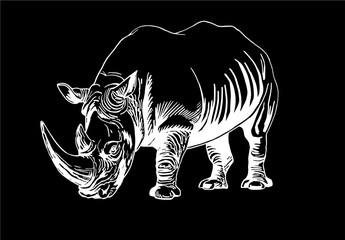 Graphical rhino isolated on black background,vector sketch