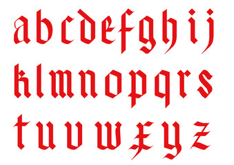 gothic font alphabet - old handwriting abc vector letters -