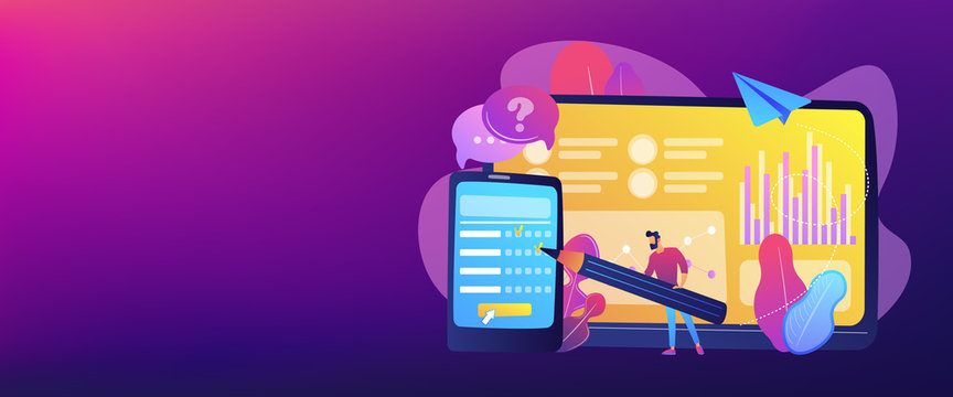 Businessman completing online survey form on smartphone screen. Online survey, internet questionnaire form, marketing research tool concept. Header or footer banner template with copy space.