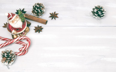 Christmas background and christmas decoration. Christmas decorations, cinnamon. Christmas decoration for cards. Toned image. Lots of space to copy.