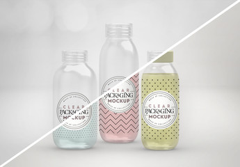 Clear Cosmetic Bottles Mockup