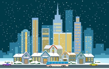 Winter cityscape flat. Vector illustration of town street with snow
