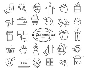 E-commerce line icons. Online shopping and delivery elements in thin line style, web retail icon set, simple vector illustration