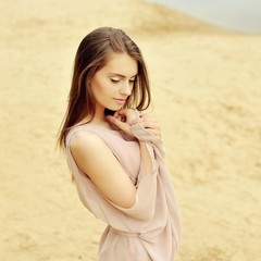 Pretty woman in dress - close up