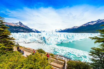 PATAGONIA, ARGENTINA - JANUARY 7, 2018: View of the Perito Moreno Glacier. Copy space for text.