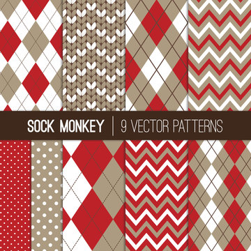 Sock Monkey Inspired Vector Patterns in Taupe Gray, Brown and Red Argyle, Chevron, Polka Dots and Knitted Prints. Repeating Pattern Tile Swatches Included.
