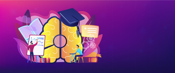 Brain with magnifier, academic cap and user learning. Education and learning style landing page. Learning and brain process, memory and knowledge. Header or footer banner template.