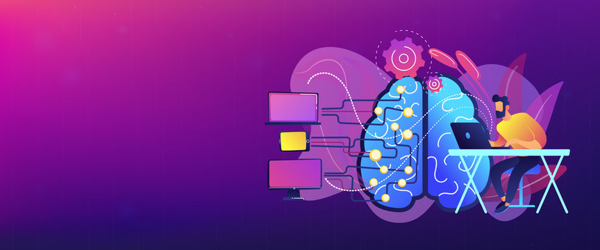 Brain with digital circuit and programmer with laptop. Machine learning, artificial intelligence, digital brain and artificial thinking process concept, violet palette. Header banner.