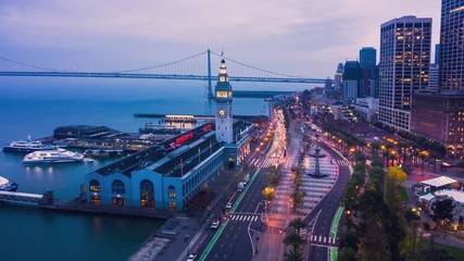 Fototapete - Aerial Hyperlapse of San Francisco Ferry Building and Embarcadero, California, USA