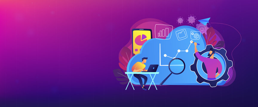 Developers drawing chart, monitoring applications. Computing resourses, operaing data and services, cloud technology organization and management concept, violet palette. Header, footer banner template