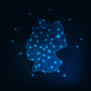 Germany map outline with stars and lines abstract framework.