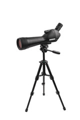 Modern  telescope on a tripod isolated on white