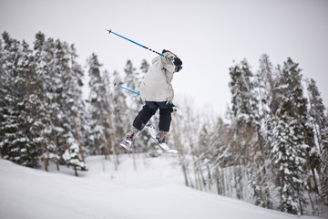 Person skiiing on snowy mountain
