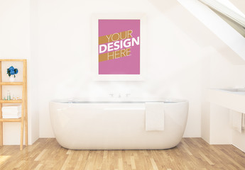 Poster on Bathroom Wall Mockup