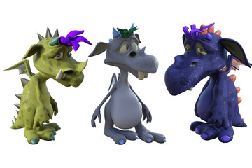 Cute cartoon dragon isolated on white, 3d render.
