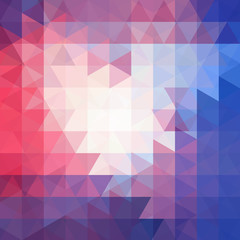 Background of blue, white, red geometric shapes. Abstract triangle geometrical background. Mosaic pattern. Vector EPS 10. Vector illustration