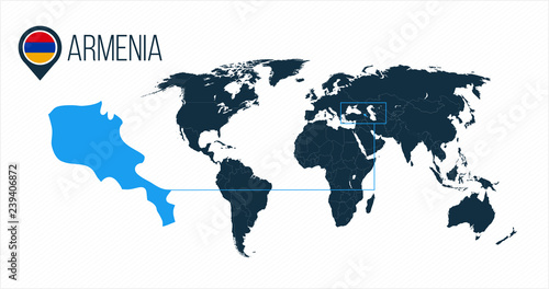 Armenia Location On The World Map For Infographics All World