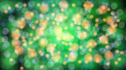 Abstract green blurred background with bokeh effect. Magical bright festive multicolored beautiful glowing shiny with light spots, round circles. Texture. Vector illustration
