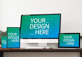 4 Devices on Wooden Desk Mockup