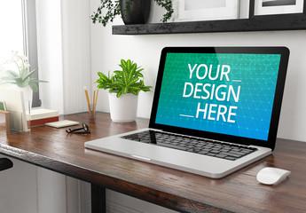 Laptop on Wooden Desk Mockup