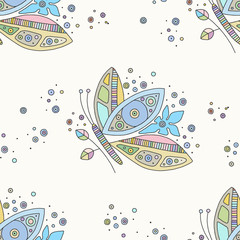 Vector hand drawn colorful seamless pattern, illustration of butterfly with decorative geometrical elements, lines, dots. Line drawing. Graphic artistic design.