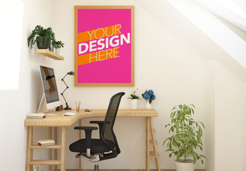 Framed Poster on Office Wall Mockup