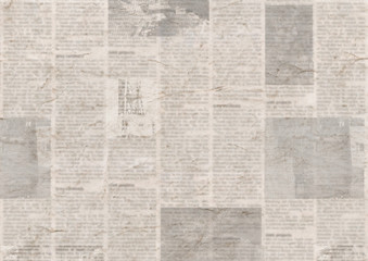 Newspaper with old grunge vintage unreadable paper texture background Fototapete