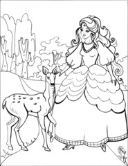 The deer with the beautiful Princess. Coloring book. 4