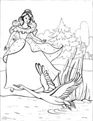 A Swan with a beautiful Princess. Coloring book. Birds. 14