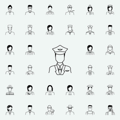 pilot icon. Proffecions icons universal set for web and mobile