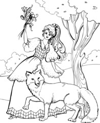 A Fox with a beautiful young woman. Coloring book. 23