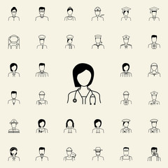 female doctor icon. Proffecions icons universal set for web and mobile