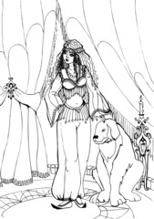 Dog with beautiful Princess. Coloring book  41