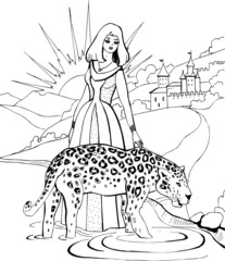 A leopard with a beautiful young woman. Coloring book.