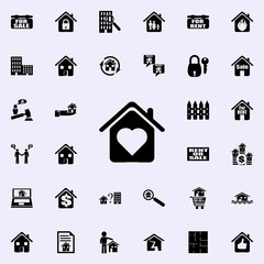house with love icon. Real estate icons universal set for web and mobile