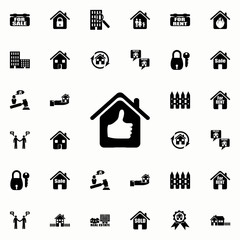 house with a raised finger icon. Real estate icons universal set for web and mobile