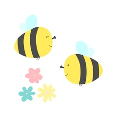 Flat color style illustration of cute little flying bees with flowers. Vector illustration.