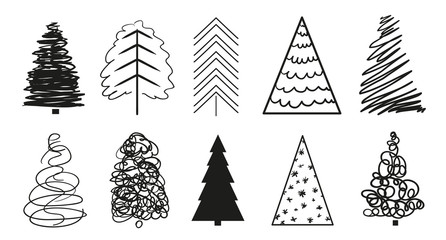 Christmas trees on white. Set for icons on isolated background. Geometric art. Objects for polygraphy, posters, t-shirts and textiles. Black and white illustration